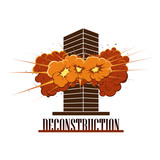 Deconstruction Company Logo. Destruction explosion in a building. Terrorism. War. Isolated on white background EPS 8