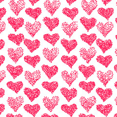 Vector pattern. Casual stipple polka dot texture. Stylish print with hand drawn hearts.