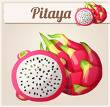 Pitaya (Dragon fruit) fruit. Cartoon vector icon