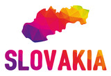 Low polygonal map of Slovakia in warm colors, Slovenska republika, SK - Europe, EU, NATO; Mosaic colorful, abstract, geometry, cartography icon