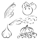 Set of different vegetables logos depicted simplistically
