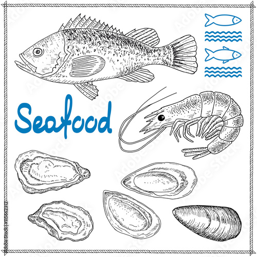 hand drawn seafood 115662312 naklejki do �azienki