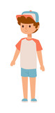 Attractive young boy stands. Fashion small school boy stands and youth cheerful fun character. Vector character boy stands and lifestyle one beautiful stand adorable teen.