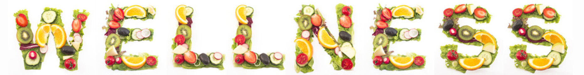 Word Wellness Made of Salad and Fruits