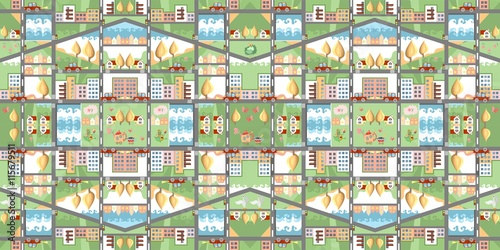 Tuinposter Op straat Cartoon map. Seamless pattern of summer city. Cute childish vector illustration. Can be used for floor carpeting, wallpapers, bed linen fabric.