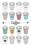 Paper coffee cups for coffee to go. Doodle design take away hot drinks: coffee and tea