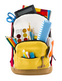 Fototapety Backpack isolated on white backgorund with protruding school supplies