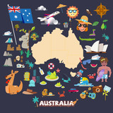 Australia map with vector icons - vector