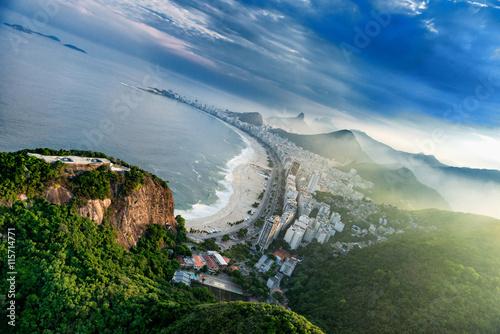 Canvastavla Copacabana in Rio De Janeiro, aerial view