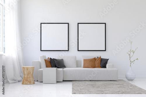3D render of spacious living room scene