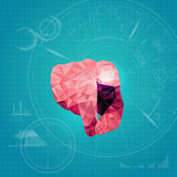 abstract futuristic background, technological interface, polygon hand