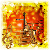 treble clef and a saxophone guitar  bright background with flares
