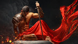 Artistic portrait of muscular male in red waving fabric.