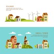 Rural and urban landscape. Village. Small town. Vector illustration.