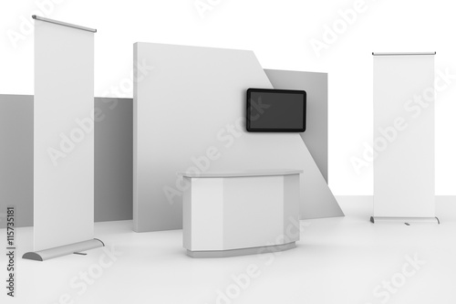 stand design in exhibition with tv display. 3D rendering