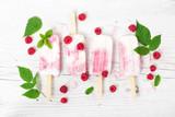 Yogurt popsicles with fresh raspberry. Top view.