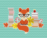 Smart fox in glasses with many books and autumn leaves. Eps 10