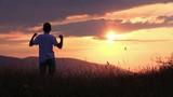 boy  sunset mountain