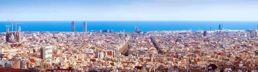 historic district with Sagrada Familia in sunny day