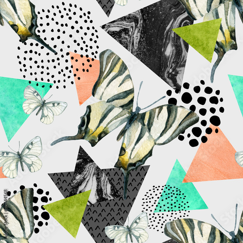 Poster Vlinders in Grunge Abstract natural geometric seamless pattern