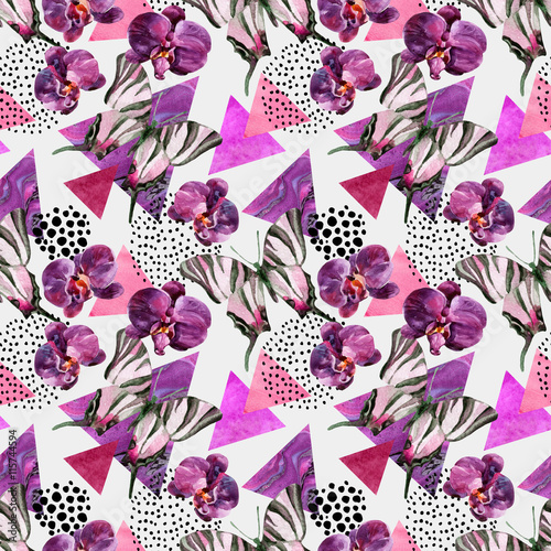 Tuinposter Vlinders in Grunge Abstract natural geometric seamless pattern