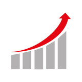 Financial growing statistics graphic isolated flat icon, vector illustration. - 115757961