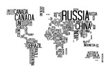 World Map with Countries name text, World Map Letter, World Map Typography - 115765957