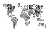 Mapa świata z tekstem nazwy kraju, list świata, typografia świata