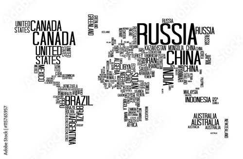 Naklejka World Map with Countries name text, World Map Letter, World Map Typography