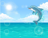 Cheerful dolphin in summer sea
