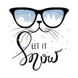 Cat in the glasses in which winter is reflected/Funny christmas hand drawing calligraphy