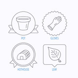 Leaf, scissors and pot icons.