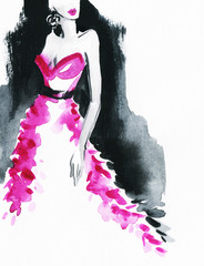 woman with elegant dress .abstract watercolor .fashion background © Anna Ismagilova