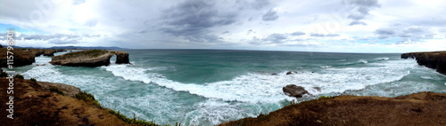Panoramic view of the Beach of the Cathedrals in Ribadeo, Galicia - Spain