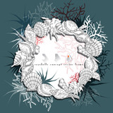 Seashells round frame concept hand drawn vector with algae, corals and plants, underwater life coral reef isolated on turquoise and white background.
