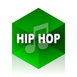 hip hop cube icon, green modern design web element