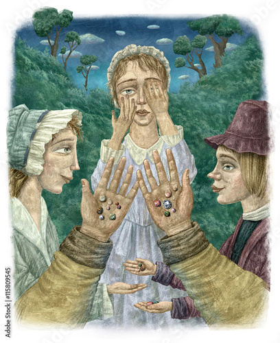 Zdjęcia na płótnie, fototapety, obrazy : The diamonds on the hands./Children hold jewels on the palms of their hands. Digital Illustration  to the fairy tale