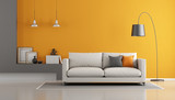 Gray and orange modern lounge