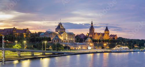 Night panorama of Old Town in Szczecin (Stettin) City