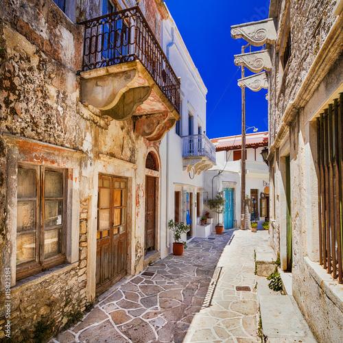 charming narrow streets of traditional greek villages - Naxos island