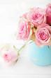 pink rose flowers in pastel vase
