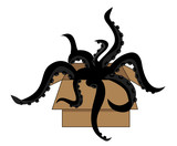 cardboard box with scary black tentacles crawling out of it