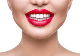 Fototapety Teeth whitening. Healthy white smile closeup. Beautiful girl with red lips isolated on white