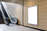 Vertical light box poster mockup in metro station, high resolution.  - 115834180