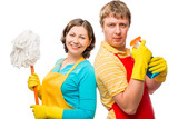 Housewife with a mop, and her husband, with spray in aprons
