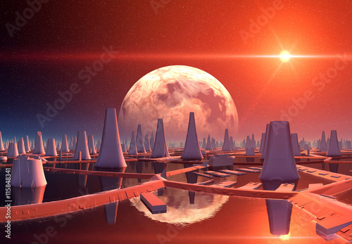Naklejka Futuristic Alien City - 3D Computer Artwork