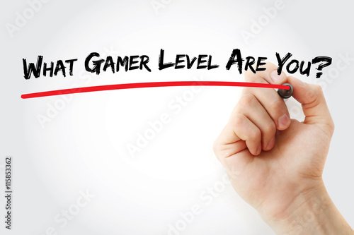 Poster Hand writing What Gamer Level Are You? with marker, concept background