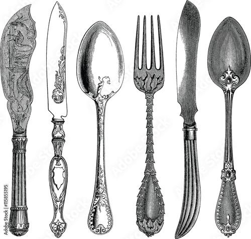 Vintage image spoon, knives, fork - 115855195