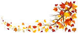 Branch With Autumn Leaves In Falling