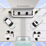 Top View Office Interior Of Automobile Salon